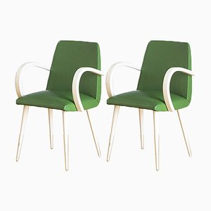 French Beech Armchairs in Green Skai, 1960s, Set of 2