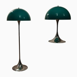 Green Panthella Lamps by Verner Panton for Louis Poulsen, Set of 2