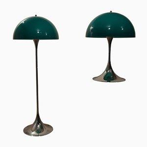 Lampade Panthella verdi di Verner Panton per Louis Poulsen, set di 2