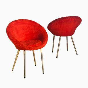 French Red Chairs, 1960s, Set of 2