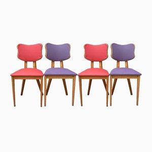 Chaises Rouges et Violettes, France, 1950s, Set de 4