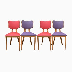 French Red and Purple Chairs, 1950s, Set of 4