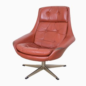 Danish Leather Swivel Chair by H.W. Klein for Bramin, 1960s