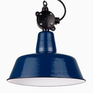 Lampe à Suspension Émaillée Bleue Industrielle Vintage, Pologne
