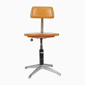 Chaise d'Architecte Vintage en Acier Inoxydable et Bois par M. Strijland Haarlem pour Sedus