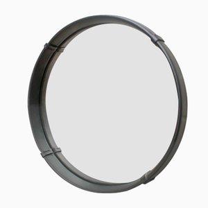 Specchio da parete rotondo vintage in pelle