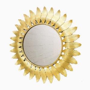 Specchio a forma di sole con foglie in ottone, anni '60