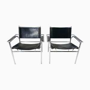 Model 4735 Tubular Steel Black Leather Chairs by Gerard Vollenbrock for Leolux, 1980s, Set of 2