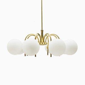 Lámpara colgante orbital de ocho brazos dorada, años 60