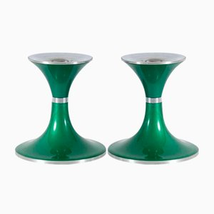 Green Aluminum Candlesticks from Quist Präsente, 1970s, Set of 2
