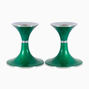 Grüner Aluminium Kerzenhalter von Quist Präsente, 1970er, 2er Set