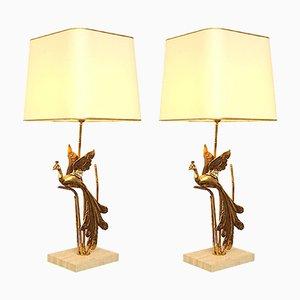 Lampe de Bureau Paon Vintage en Métal Doré et Travertin