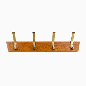 Wooden Coat Rack with Brass Hooks, 1950s