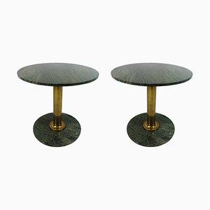 Tables Hollywood Regency Vintage avec Pieds en Laiton et Plateaux en Granite, Set de 2