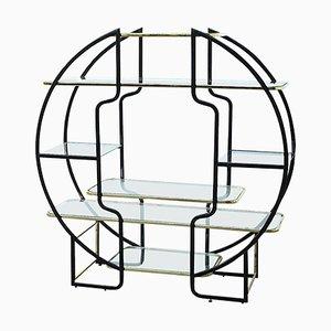Estantería circular vintage de latón con vitrina