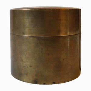 Scandinavian Brass Trinket Container with Blood Enamel, 1960s