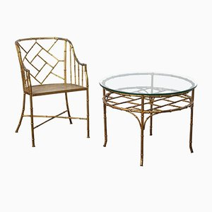 Vintage French Faux Bamboo Table & Chair Set, 1970s