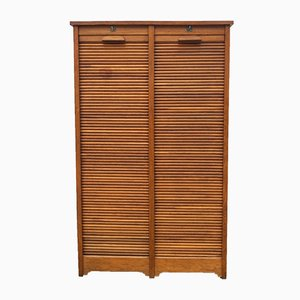Oak Tambour Filing Cabinet with Shutters, 1950s