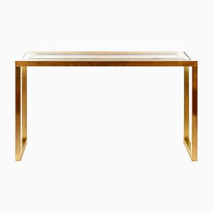 Mid-Century Italian Brass & Glass Console Table, 1970s