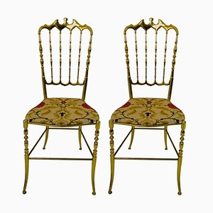 Chaises Chiavari Hollywood Regency en Laiton, 1950s, Set de 2