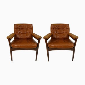 Mid-Century Wood & Leather Armchairs from Göte Möbler, Set of 2