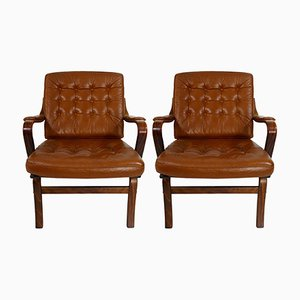 Mid-Century Modern Rosewood & Leather Armchairs from Göte Möbel, Set of 2