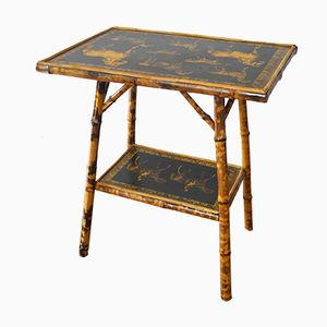 Antique Horse Print Bamboo Table