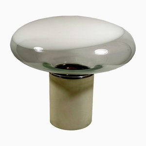 Lámpara de mesa de acero y cristal de Murano de Roberto Pamio para Leucos, 1969