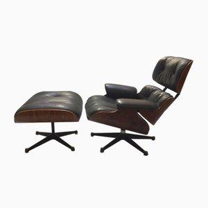 Sillón vintage con otomana de Charles & Ray Eames para Herman Miller