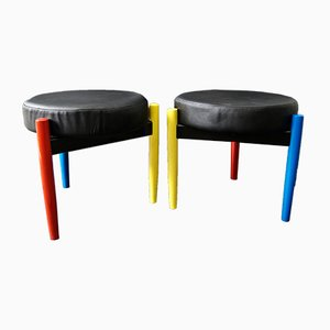 Yello, Red and Blue Stools, 1980s, Set of 2