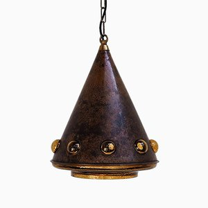 Cone-Shaped Pendant in Glass and Copper by Nanny Still, 1960s