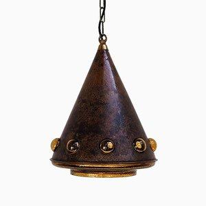 Lámpara colgante cónica de vidrio y cobre de Nanny Still, años 60