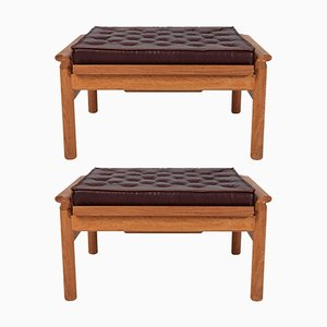 Mid-Century Wooden Ottomans with Leather Cushions, Set of 2