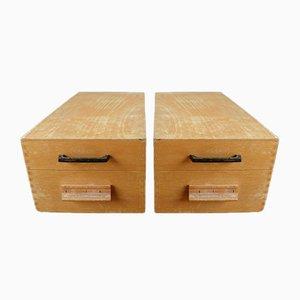 Cajas archivadoras de madera, años 60. Juego de 2