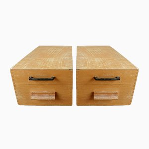 Wooden Archive Box, 1960s, Set of 2