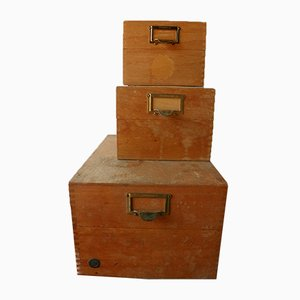 Wooden Filing Boxes, 1950s, Set of 3