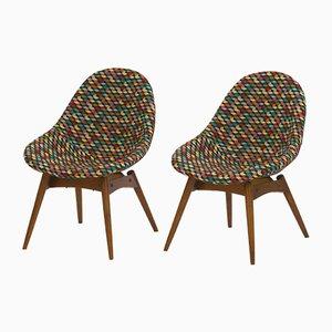 Gepolsterte Schalenstühle, 1960er, 2er Set