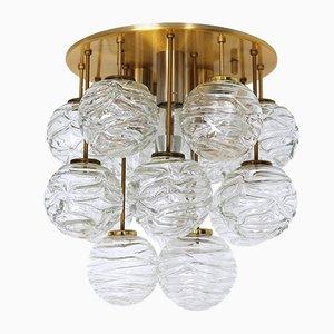 Plafón con esfera de cristal de Murano de Doria Leuchten, años 60
