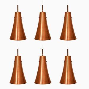 Large Trumpet-Shaped Copper Pendant Lamps, 1950s, Set of 6