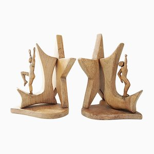 Serre-Livres en Bois Sculpté par Johnny Ludecher, France, 1960s, Set de 2