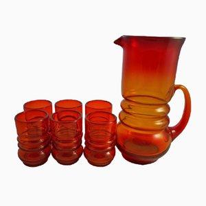 Juego de jarra y seis vasos de Lucyna Pijaczewska, años 70