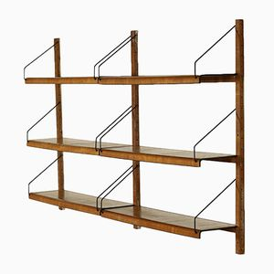Mid-Century Italian Wall Bookcase in Bent Walnut