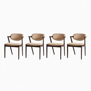 Mid-Century Model 42 Chairs by Kai Kristiansen for Schou Andersen, 1960s, Set of 4