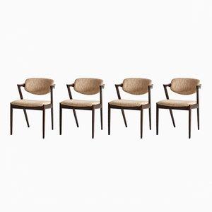 Sedie nr. 42 Mid-Century di Kai Kristiansen per Schou Andersen, anni '60, set di 4