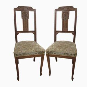 Stühle aus Nussholz und Rosshaar, 1950er, 2er Set