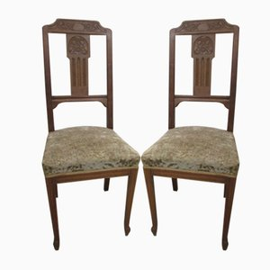 Walnut and Horsehair Chairs, 1920s, Set of 2