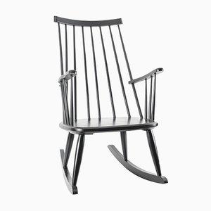 Sedia a dondolo nera di Lena Larsson per Nesto Sweden / Pastoe, anni '50