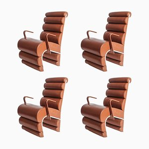 Steel and Leather Chairs, 1990s, Set of 4
