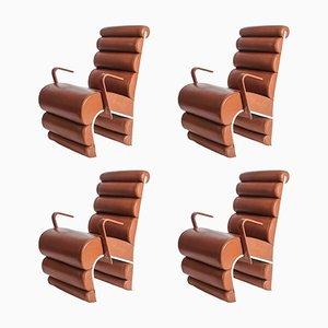 Stühle aus Stahl und Leder, 1990er, 4er Set