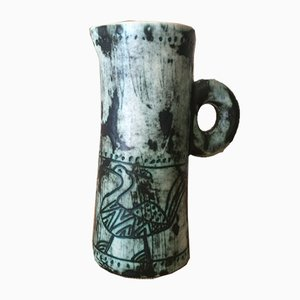 Mid-Century Ceramic Pitcher with Bird Motif by Jacques Blin, 1950s